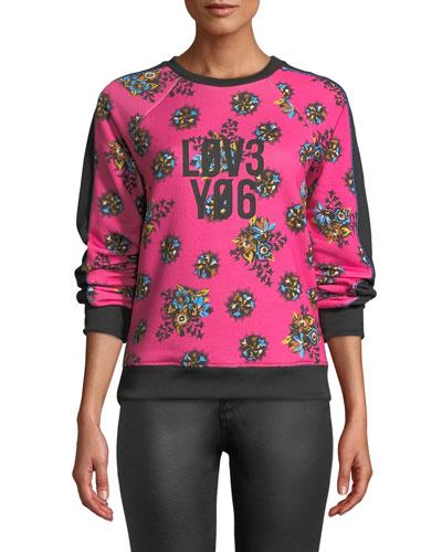 Bright Flowers Print Sweatshirt