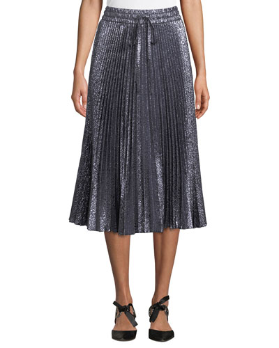 Cloque Flower-Pleated Midi Skirt
