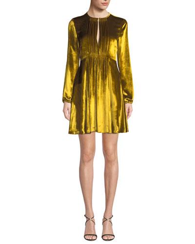 Liquid Velvet Pleated-Bib Long-Sleeve Dress