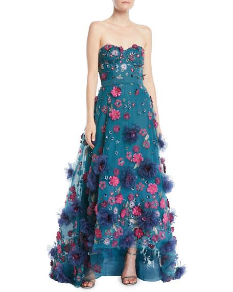 659123dc Marchesa Notte Strapless Ball Gown w/ 3D Petals