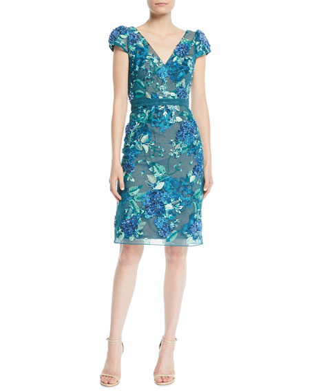 3D FLORAL EMBROIDERED CAP-SLEEVE DRESS