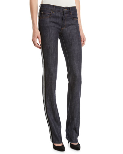 Skinny Jeans with Velvet Side Stripe