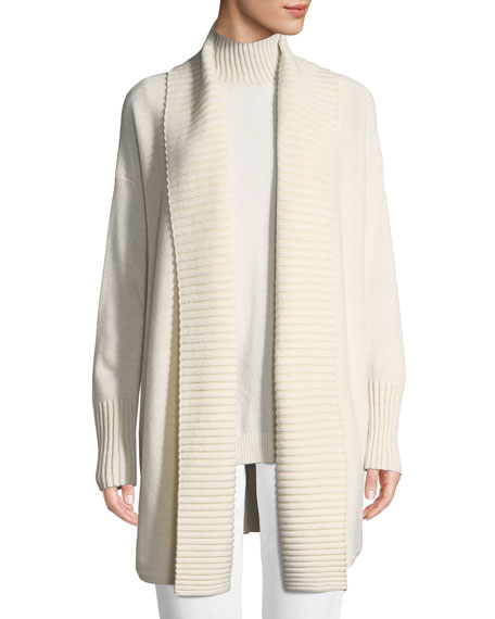 Vanise Long Ribbed-Trim Cashmere Cardigan