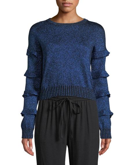 Crewneck Ruffle Trim Long-Sleeve Metallic Knit Sweater
