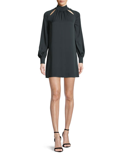Sherrie Mock-Neck Long-Sleeve Stretch-Silk Dress