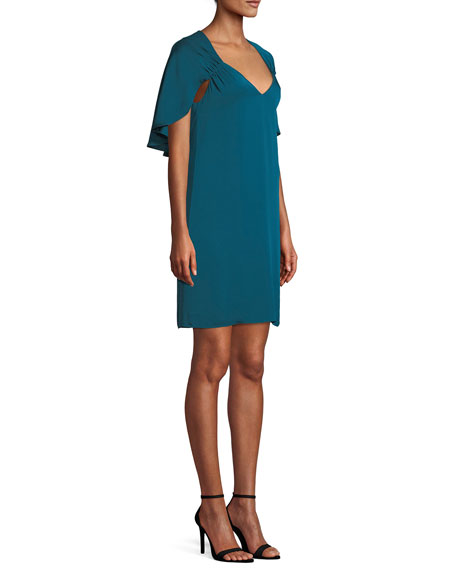 Romy V-Neck Cape-Back Stretch-Silk Sheath Dress