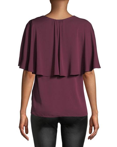 Romy V-Neck Cape-Back Stretch-Silk Top