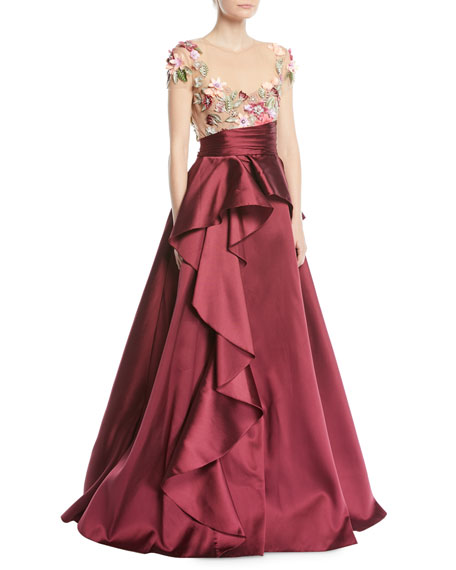 3D Floral Embroidered Ball Gown w/ Cascade