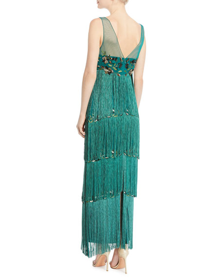 1c44f02294 Marchesa Notte Sleeveless Embroidered Fringe Gown