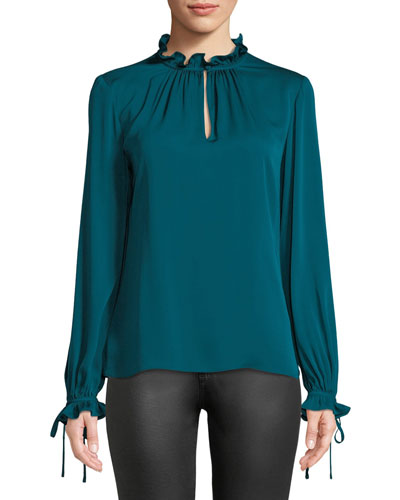 Jenny Ruffled-Neck Long-Sleeve Stretch-Silk Top