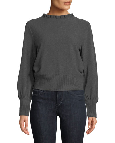Pintuck Shirred-Neck Long-Sleeve Pullover Sweater