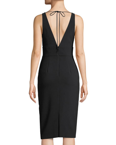 Crepe V-Neck Cocktail Sheath Dress w/ Lilac Beaded Front