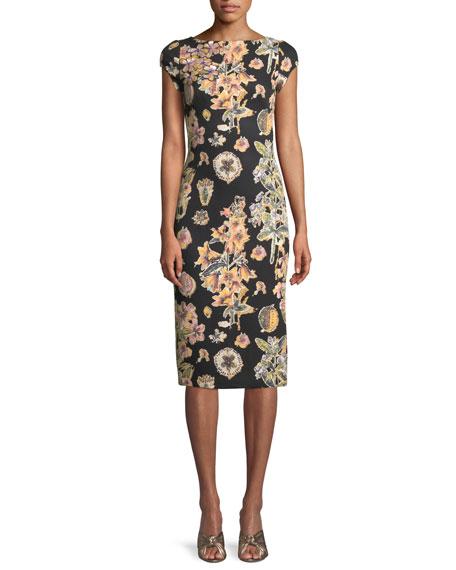 Short-Sleeve Floral Decoupage Scuba Cocktail Dress
