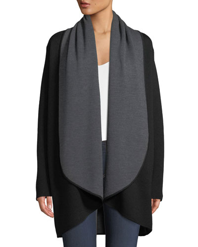Contrast Double-Face Draped Cardigan Coat