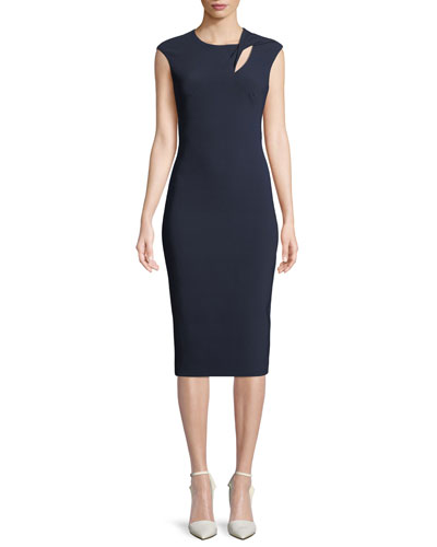 Cap-Sleeve Crepe Cocktail Sheath Dress w/ Asymmetric Keyhole