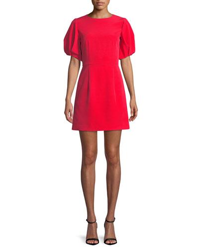 Kyle Italian Cady Puff-Sleeve Dress