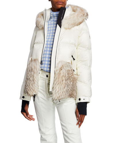 Joux Quilted Coat w/ Fur & Hood