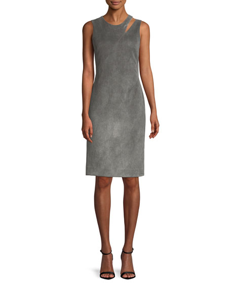 Bonded Faux Suede Fractured Sheath Dress in Grey
