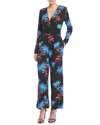 Floral-Print Crossover Crepe Jumpsuit