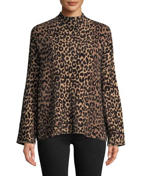 Mock-Neck Long-Sleeve Textured Cheetah Sweater