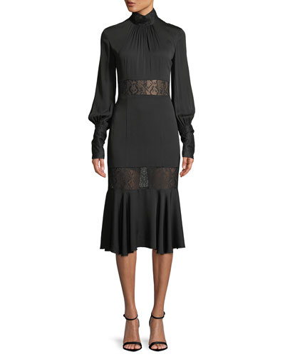 Arianna Long-Sleeve Python Lace Midi Dress