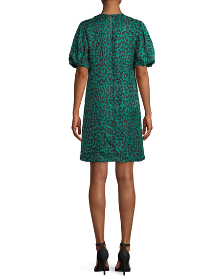Melinda Short-Sleeve Leopard-Print Silk Shift Dress