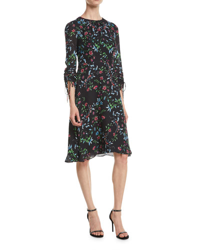 3a6134bc7c09f2 Diana Crewneck Ruched-Sleeve Wildflower-Print Silk A-Line Dress Quick Look.  Milly