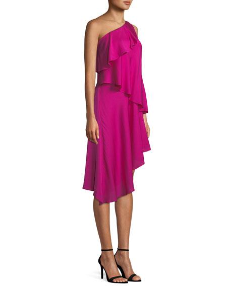 Nora One-Shoulder Asymmetric Ruffled Tiered Stretch-Silk Dress