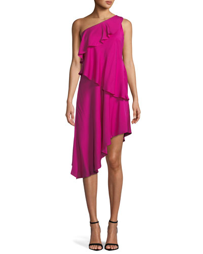 Nora One-Shoulder Asymmetric Ruffled Tiered Stretch-Silk Dress