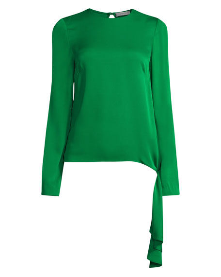 Tie-Hem Long-Sleeve Stretch-Silk Blouse