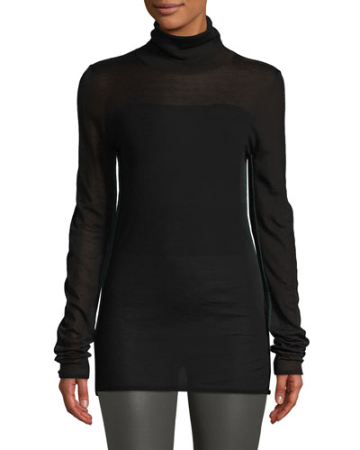 Contrast-Seam Turtleneck Sweater