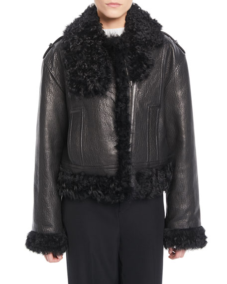 Leather Moto Jacket w/ Shearling Lining