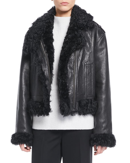 Leather Moto Jacket W/ Shearling Lining in Black