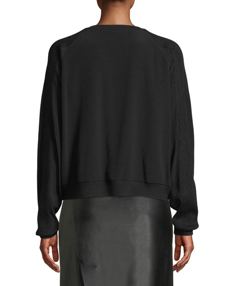 Crewneck Sweatshirt w/ Ribbed Sleeves