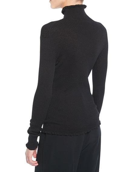 Ribbed Lettuce-Edge Turtleneck Sweater