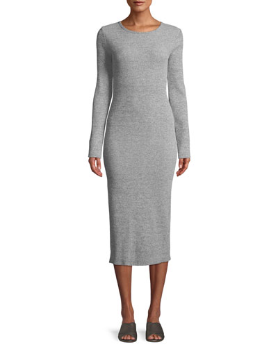 Long-Sleeve Ribbed Knit Crewneck Midi Dress