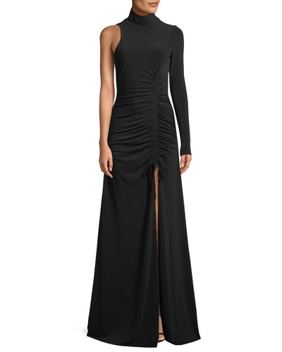 Francoise Ruched One-Sleeve Gown