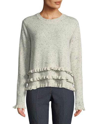 Tous Les Jours Adiella Ruffle-Trim Cashmere Sweater