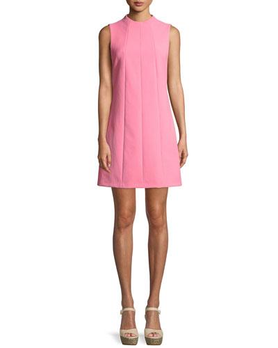 Coley Mock-Neck Sleeveless Seamed A-Line Mini Dress