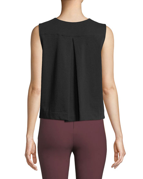 Brit Sleeveless Crewneck Crop Top w/ Snaps