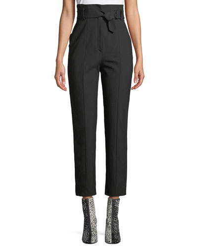 Wallace High-Rise Belted Straight-Leg Pants
