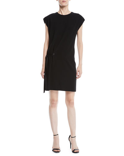 Etta Side-Tie Crewneck Short Dress