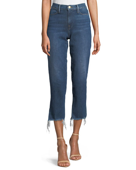Le High Straight-Leg Frayed-Hem Jeans