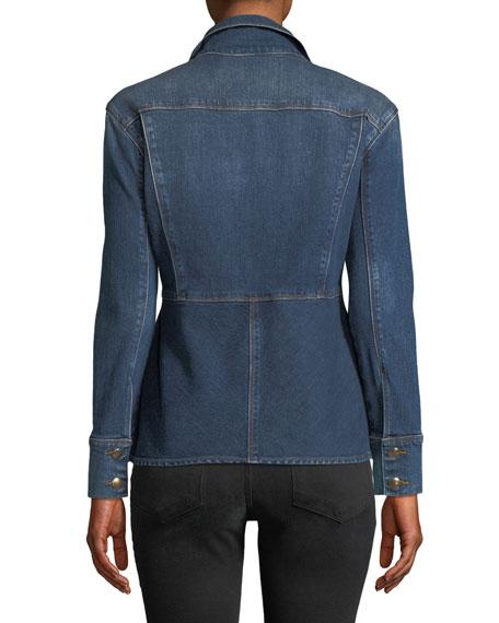 Button-Front Flounce Denim Jacket