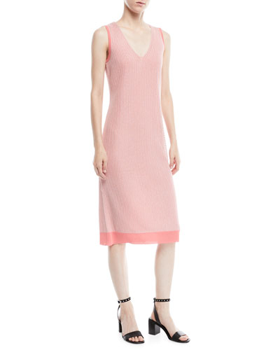 Cora V-Neck Rib-Knit Midi Dress
