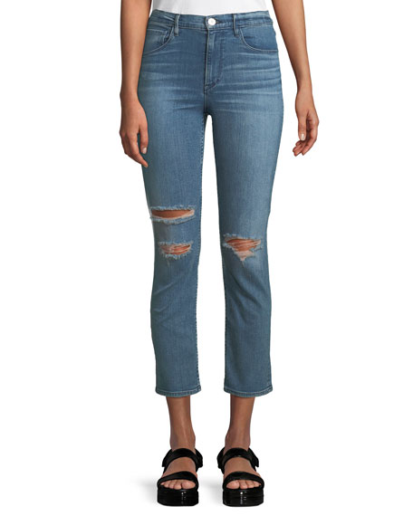 W4 Colette Cropped Distressed High-Rise Slim-Leg Jeans, Blue