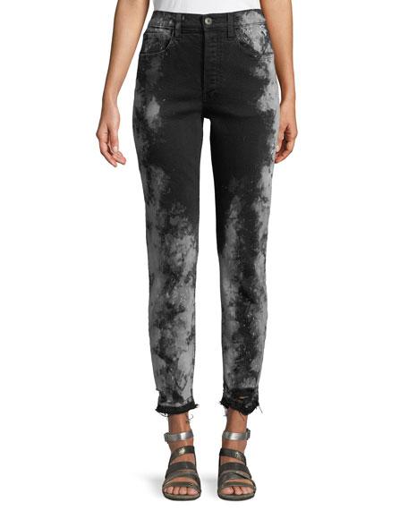 W3 Higher Ground Cropped Jeans W/ Distressed Hem, Black Pattern