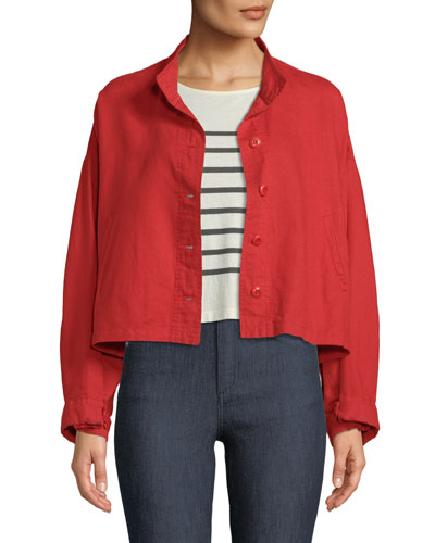 The Captain Cropped Button-Front Jacket