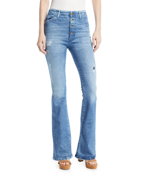 Acynetic FRIYA SHARON GENE MID-RISE FLARE-LEG JEANS WITH EXPOSED FLY