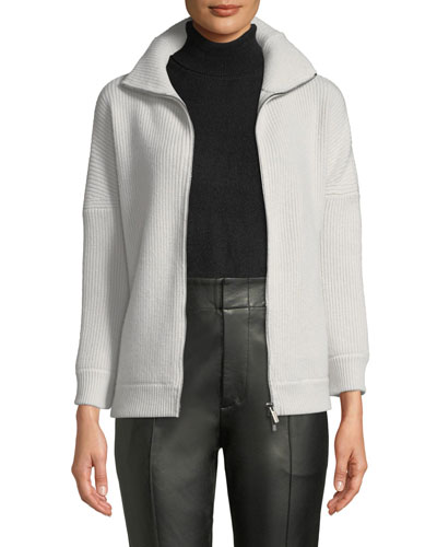 Cashmere Zip-Up Cardigan